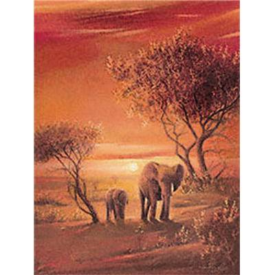 Affiche Sunset with Elephants