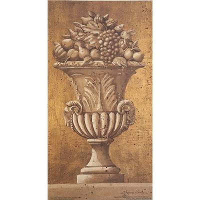 "Affichette ""Gold Ram urn with fruit"""